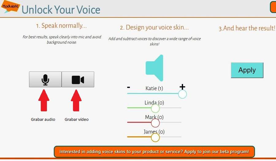Modulador de voz online audio o vídeo Modulador de voz online para cambiar como suena tu voz: Modulate