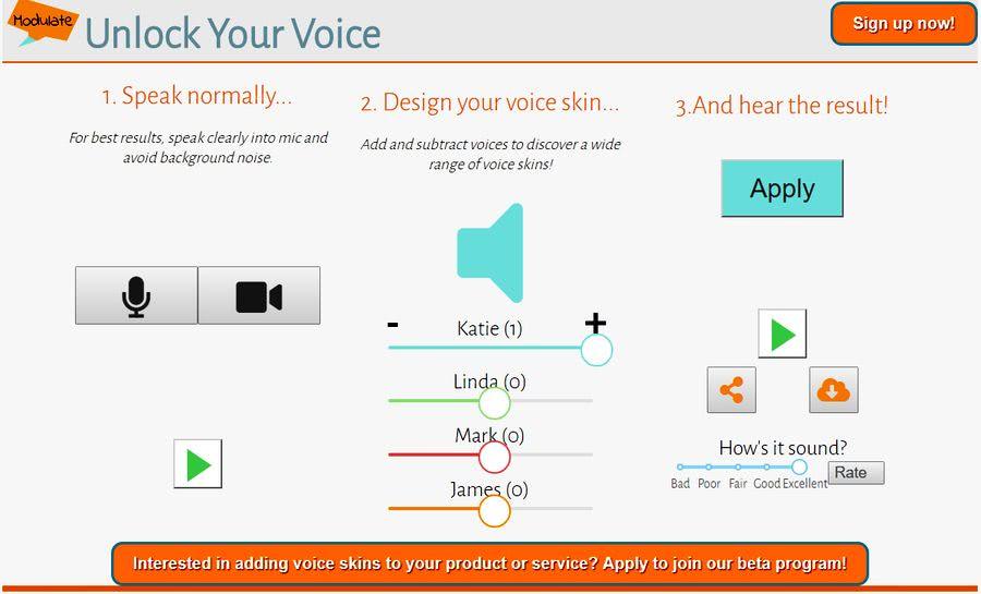 Modulador de voz online Modulador de voz online para cambiar como suena tu voz: Modulate