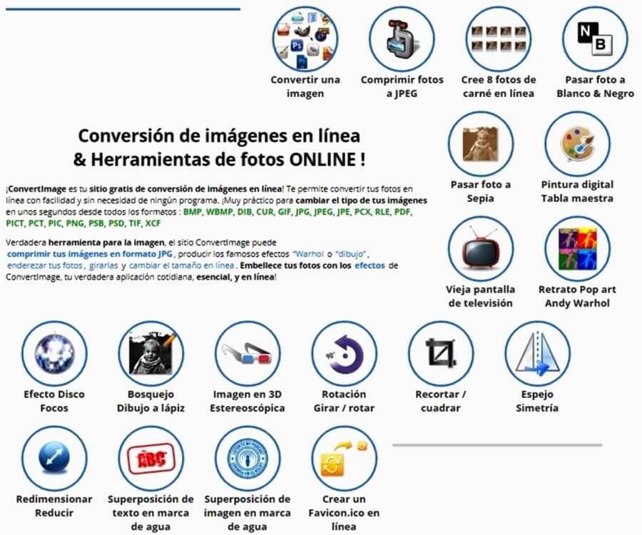 ConvertImage: impresionante colección de webapps para convertir y editar imágenes