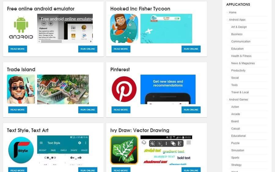 Emulador de Android ApkOnline catálogo de apps ApkOnline: emulador online de Android en el que puedes cargar tus APK