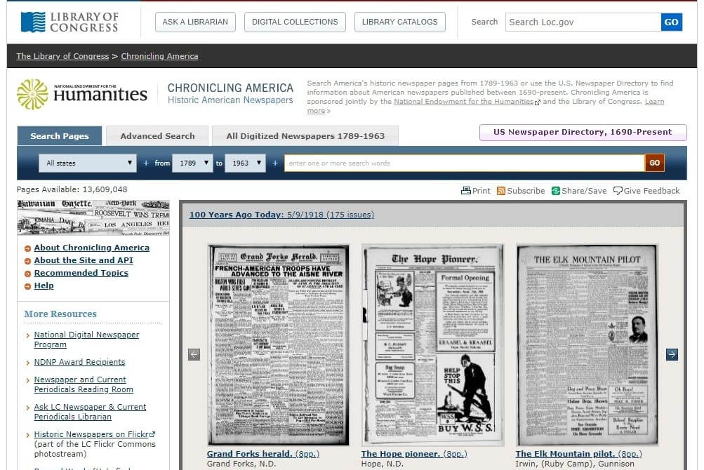 Hemeroteca digital online - Chronicling America