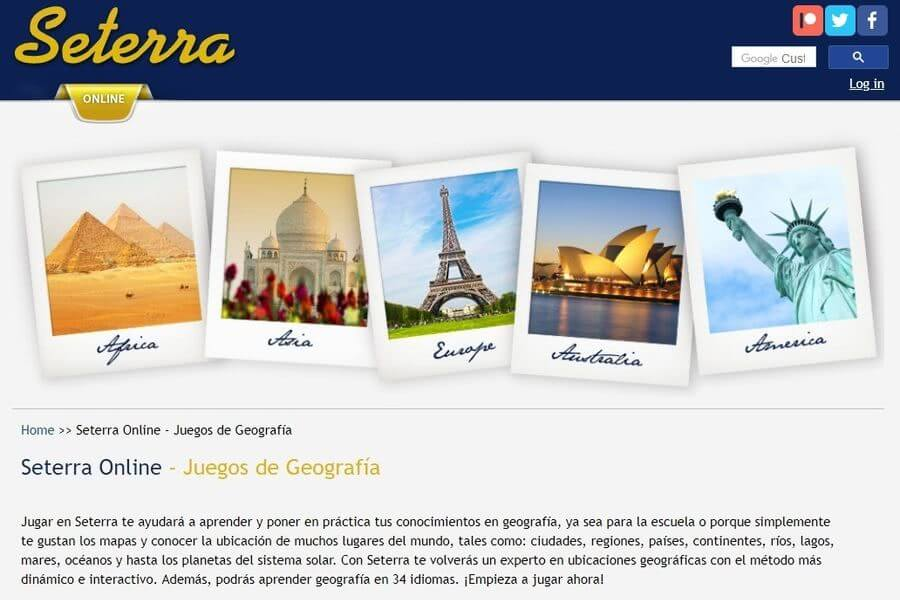 Juegos de Geografía online para localizar sobre un mapa: Seterra