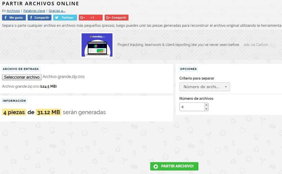 Partir y unir archivos partir archivos Partir y unir archivos online con una utilidad web gratuita