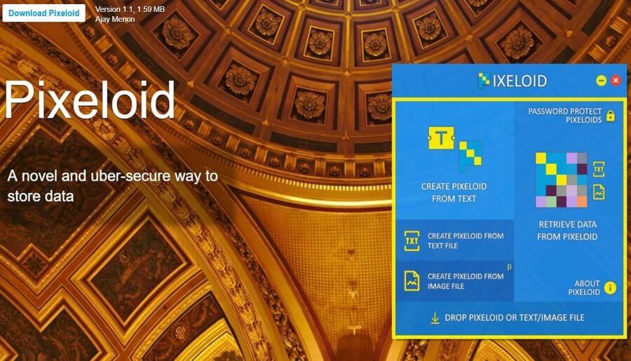 Pixeloid Pixeloid: software gratis para cifrar y proteger texto e imágenes