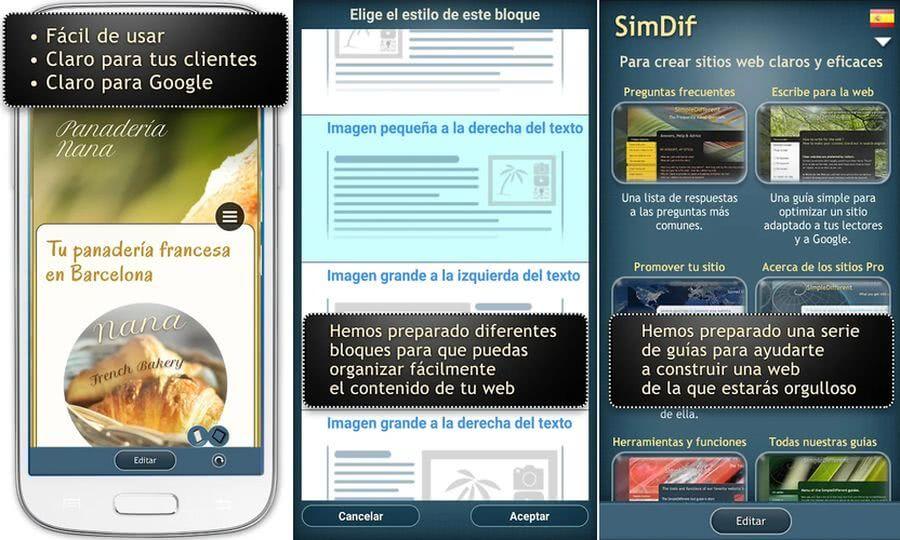 SimDif SimDif: app móvil gratuita para crear sitios web sin programación