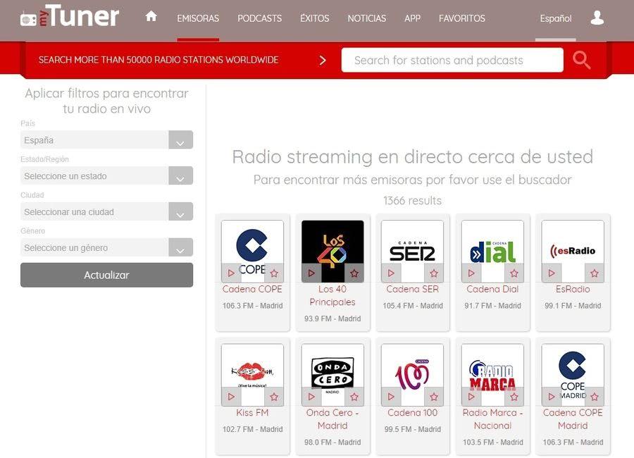 myTuner myTuner: más de 50000 emisoras de radio para escuchar online