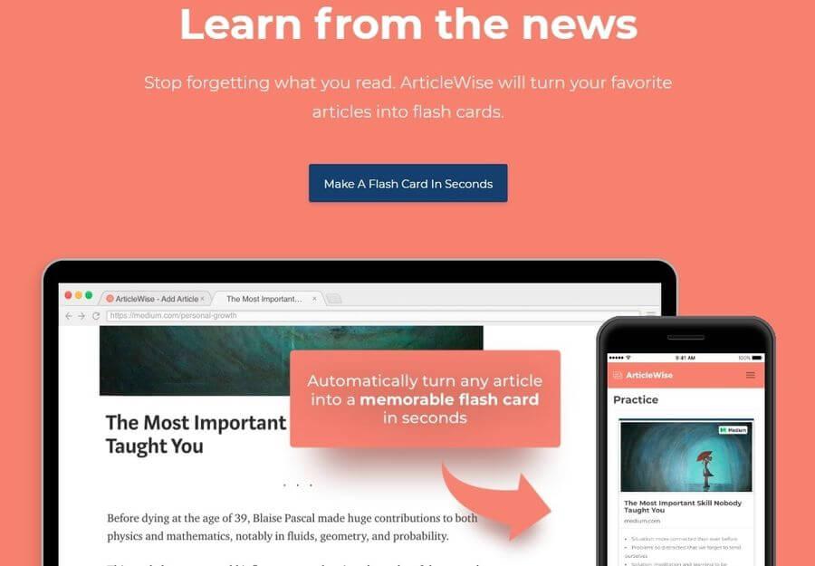 ArticleWise: convierte cualquier artículo en una Flash Card
