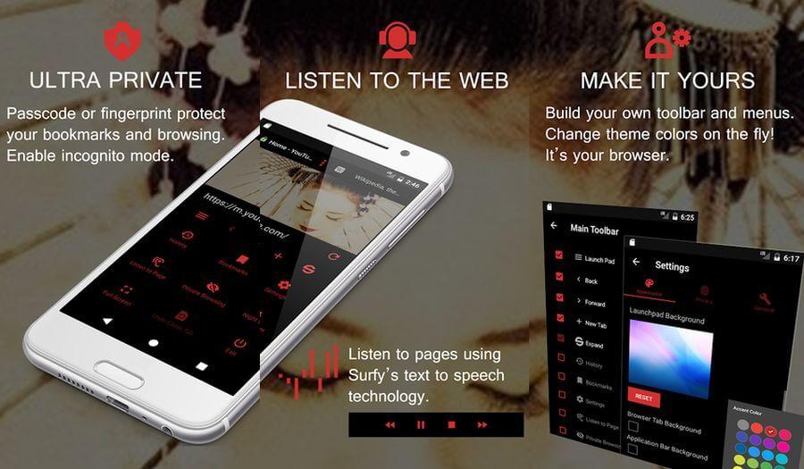 Surfy Browser: navegador Android enfocado en la Privacidad y con extras