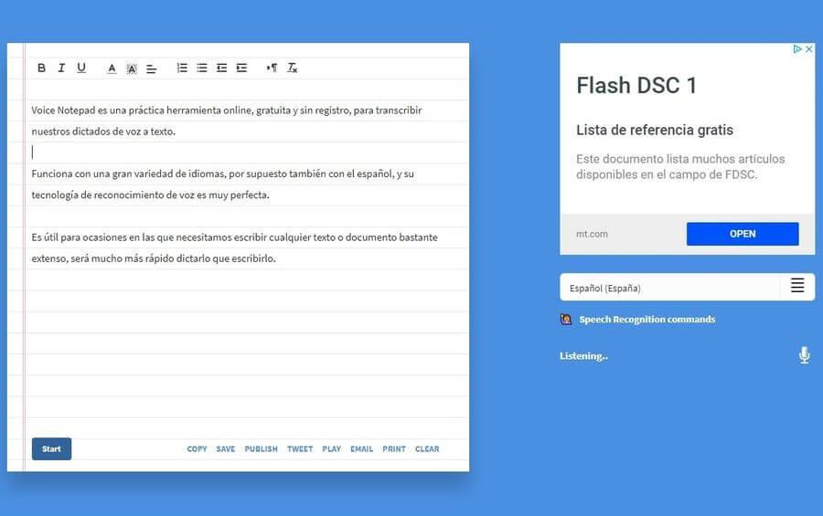 Voice Notepad: utilidad web para trascribir dictados de voz a texto