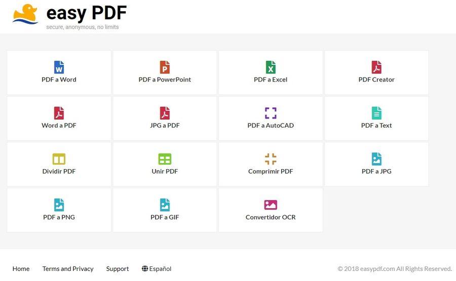 easy PDF: herramientas web gratuitas para editar y convertir PDF