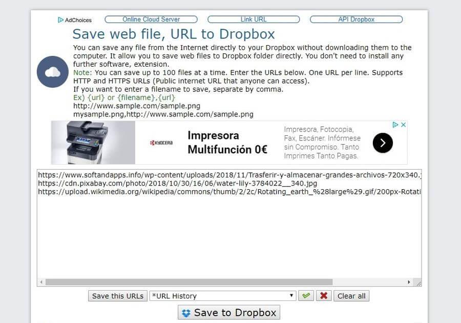 Subir archivos a Dropbox simplemente indicando su URL