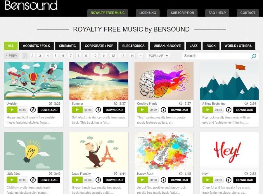 Bensound: banco de música gratuita para vídeos y otros proyectos