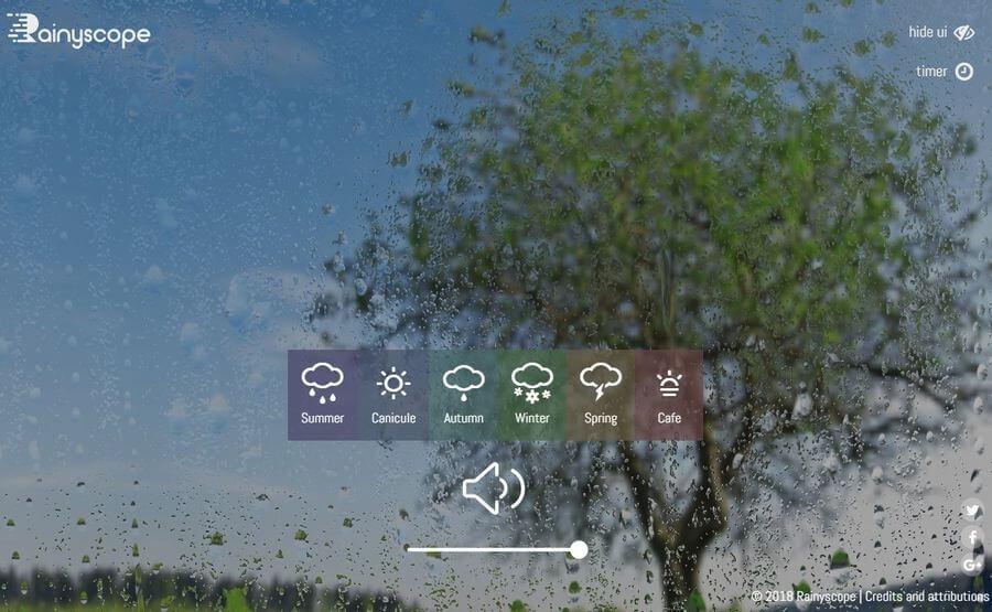 Sonidos naturales para relajación en la página de Rainyscope