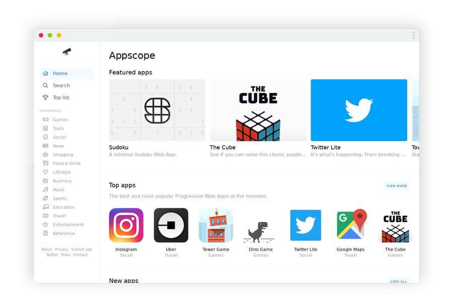 Directorio de Aplicaciones Web Progresivas: Appscope