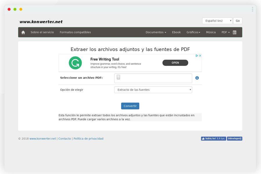 Extraer archivos adjuntos de PDF online y gratis con esta aplicación web