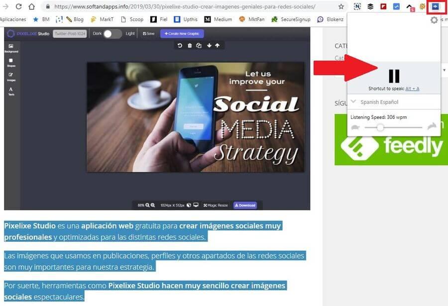 Lectura en voz alta de cualquier texto en el navegador Chrome