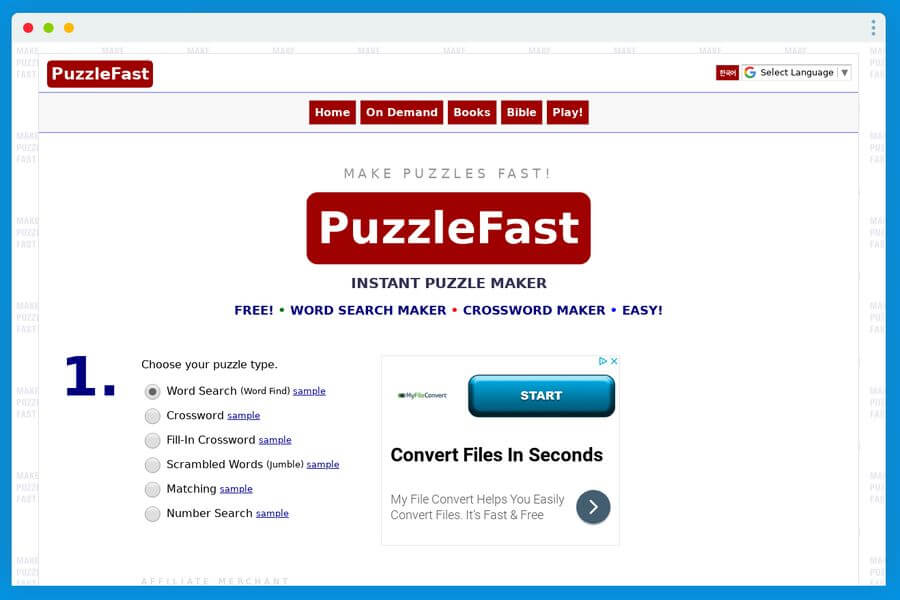 PuzzleFast: sitio para crear pasatiempos imprimibles en un instante