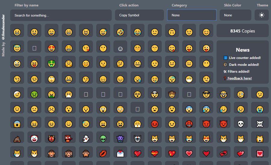 Emojis para copiar y pegar en la página de Emojim