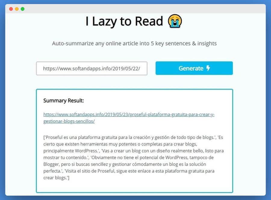 Resumir artículos automáticamente para leer solo lo más importante