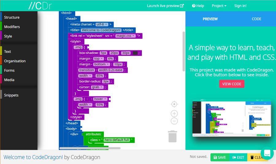 CodeDragon: aprende desarrollo web arrastrando y soltando bloques