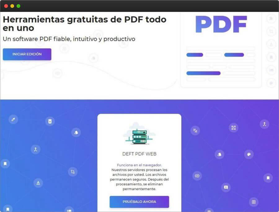 DeftPDF: colección de herramientas gratuitas para editar y convertir PDF