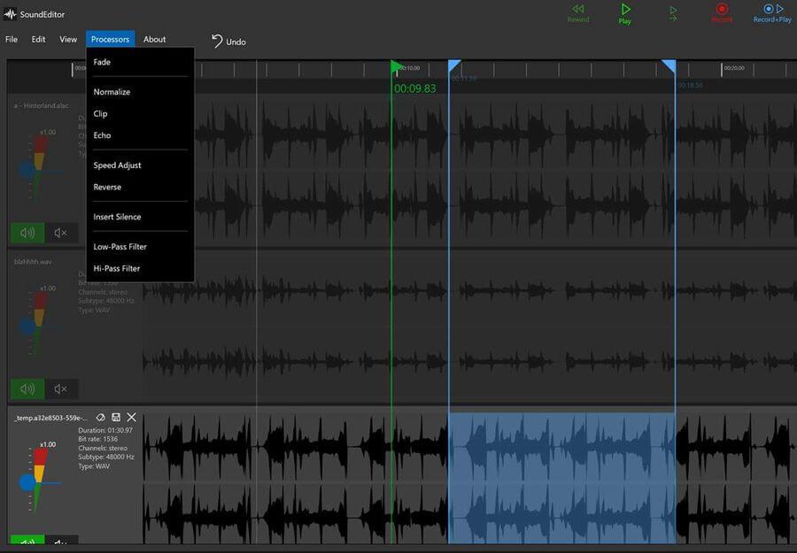 Editor de audio para Windows 10