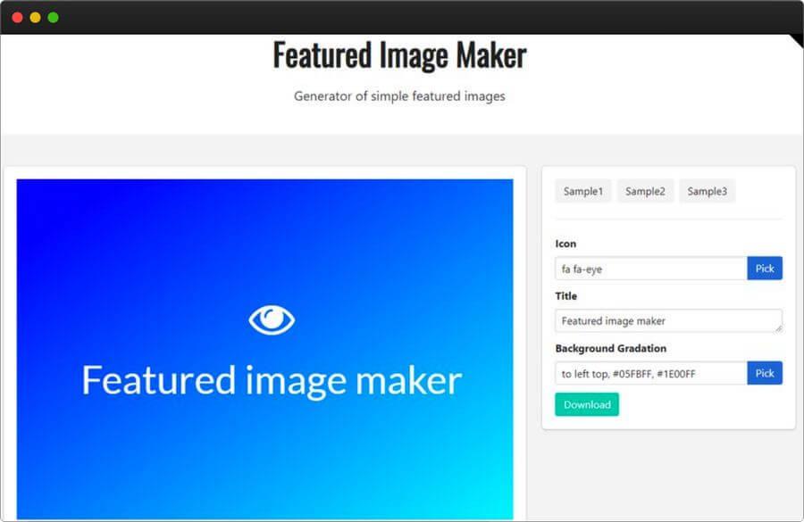 Generador de imágenes destacadas a partir de iconos y degradados