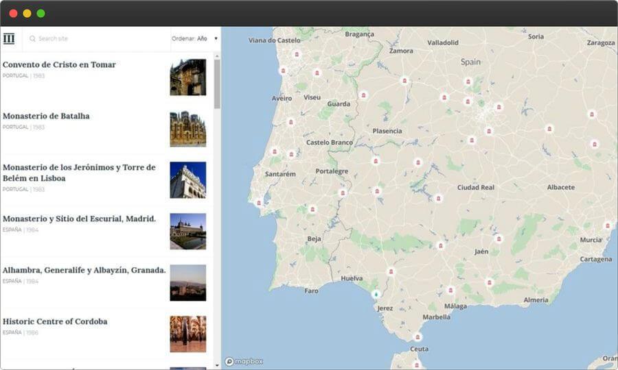 Monumap: mapa de lugares Patrimonio Mundial por la UNESCO