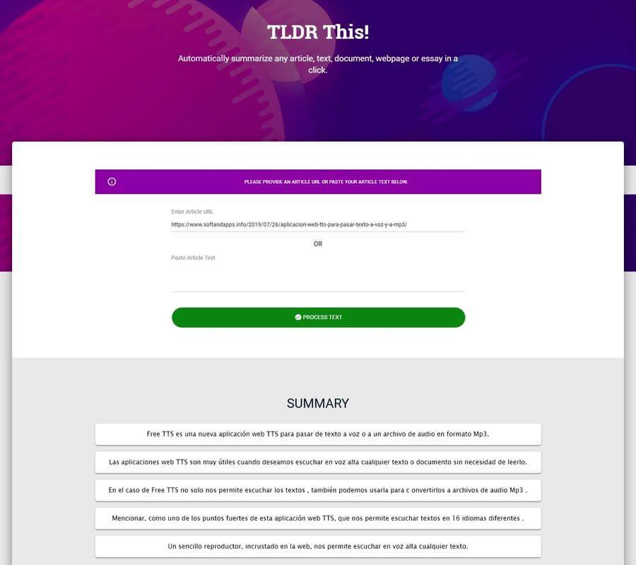 Resumir textos automáticamente y gratis con TLDR This