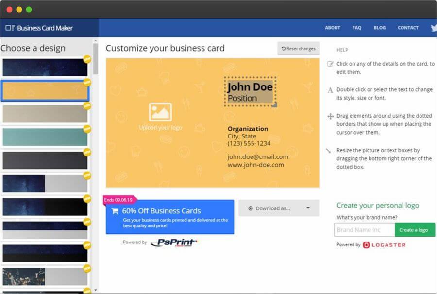Crear tarjetas de visita online y gratis con Business Card Maker