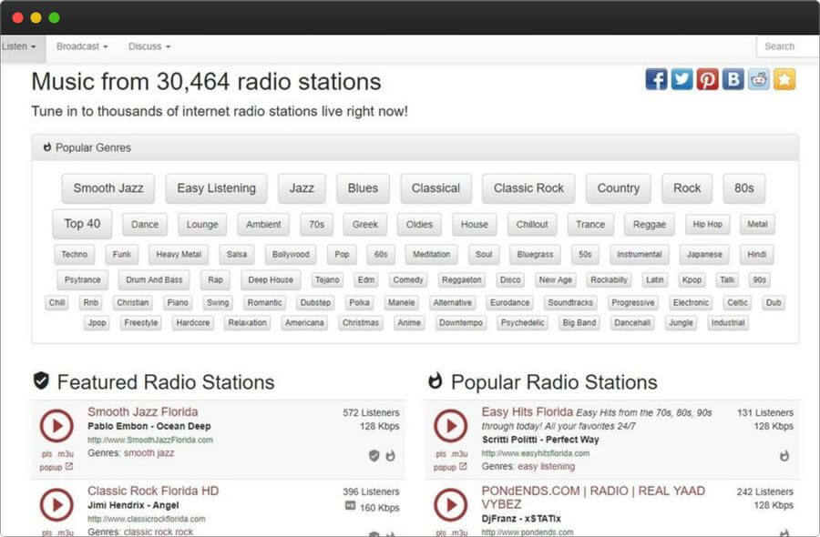 Escuchar emisoras musicales online y gratis en la web de Internet Radio