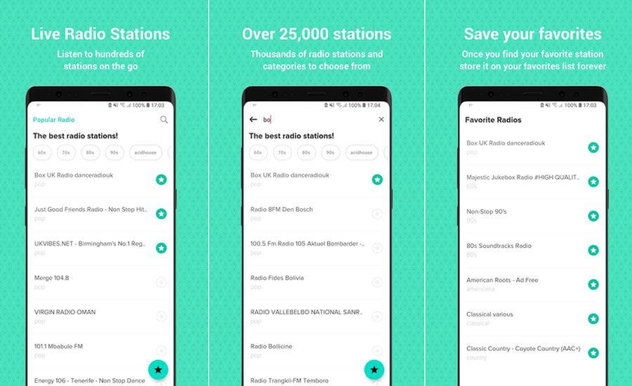 Emisoras musicales en Android