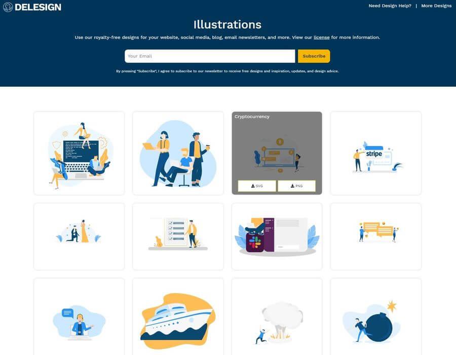 Recursos gráficos personalizables y gratuitos en la página de Delesign