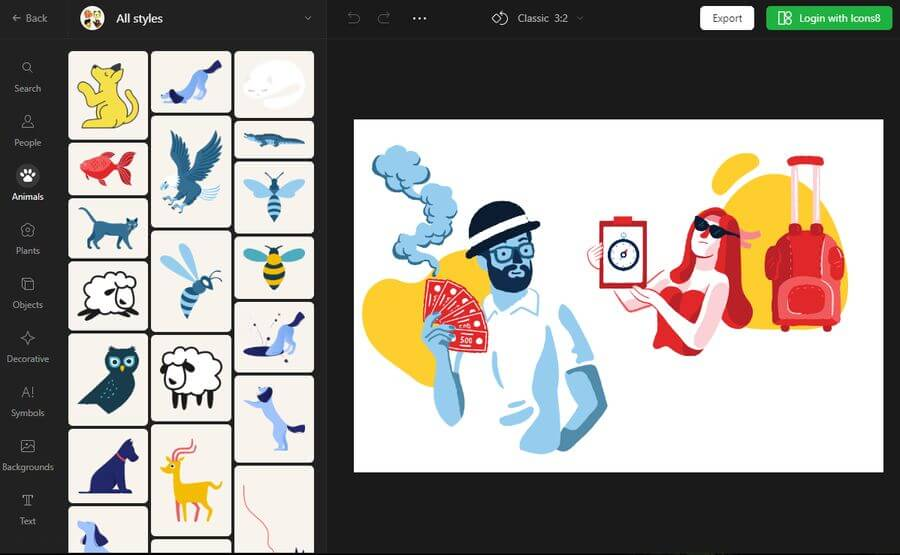 Vector Creator de Icons8: crea ilustraciones gratis sin ser diseñador