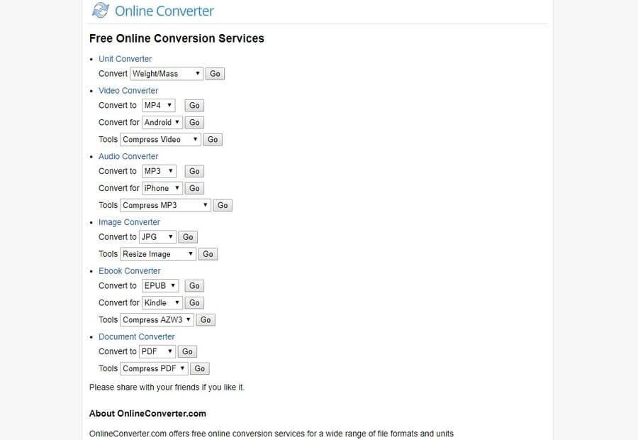 Convertidor online gratuito de archivos y unidades: Online Converter