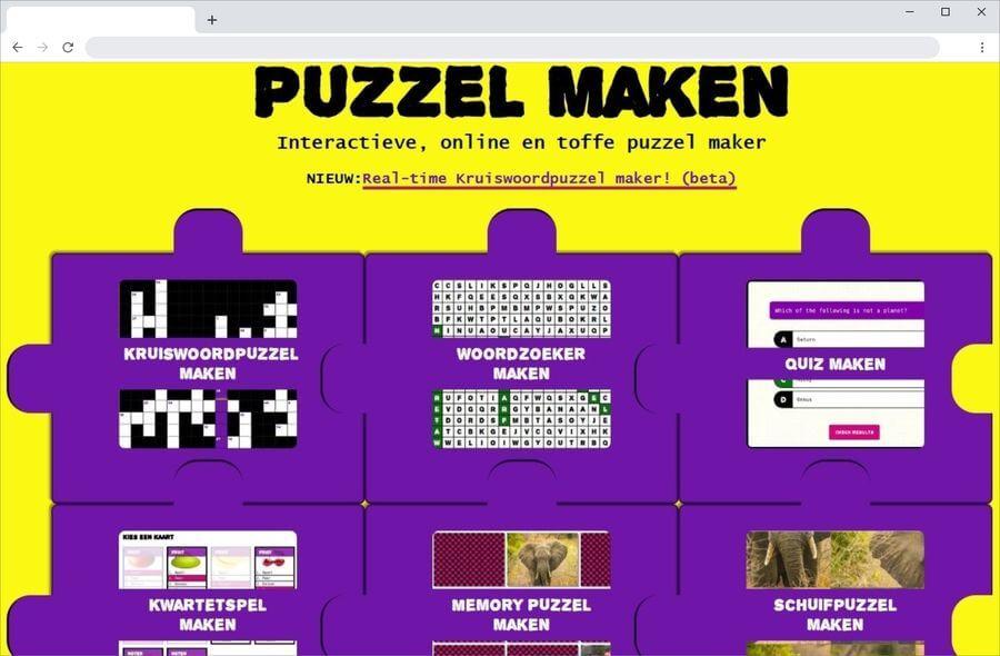 Crear juegos educativos gratis y online en la página de Puzzel