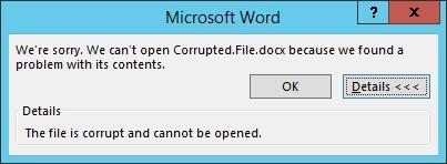 Documento de Word corrupto