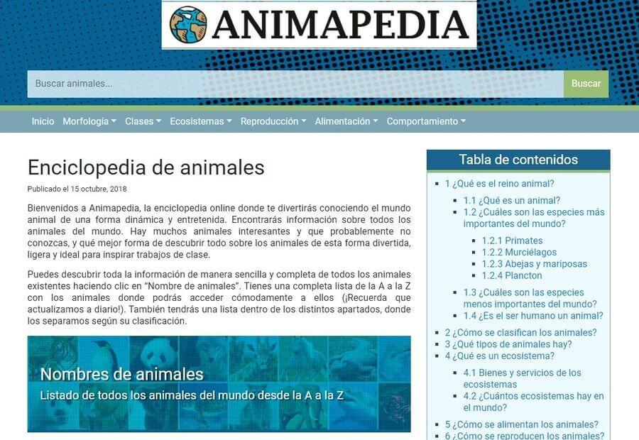 Enciclopedia online de animales con todo lo que quieres saber sobre ellos