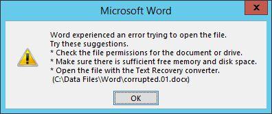 Error de Microsoft Word