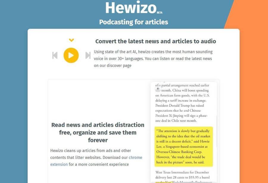 Hewizo: convertir artículos y noticias en podcasts para escuchar