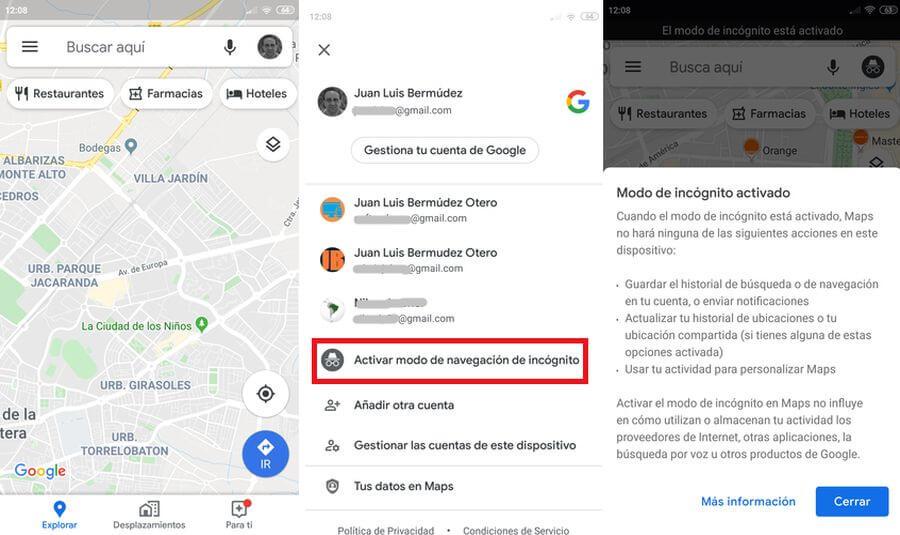 Modo incógnito en Google Maps en Android