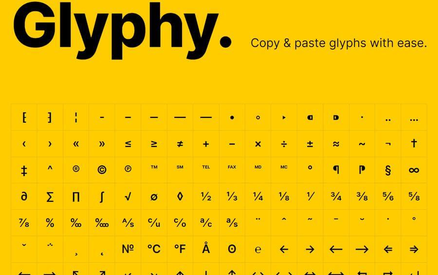 Símbolos para copiar y pegar con un simple clic en Glyphy