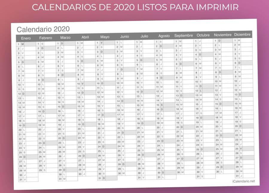 Calendarios de 2020 para imprimir y gratuitos en iCalendario