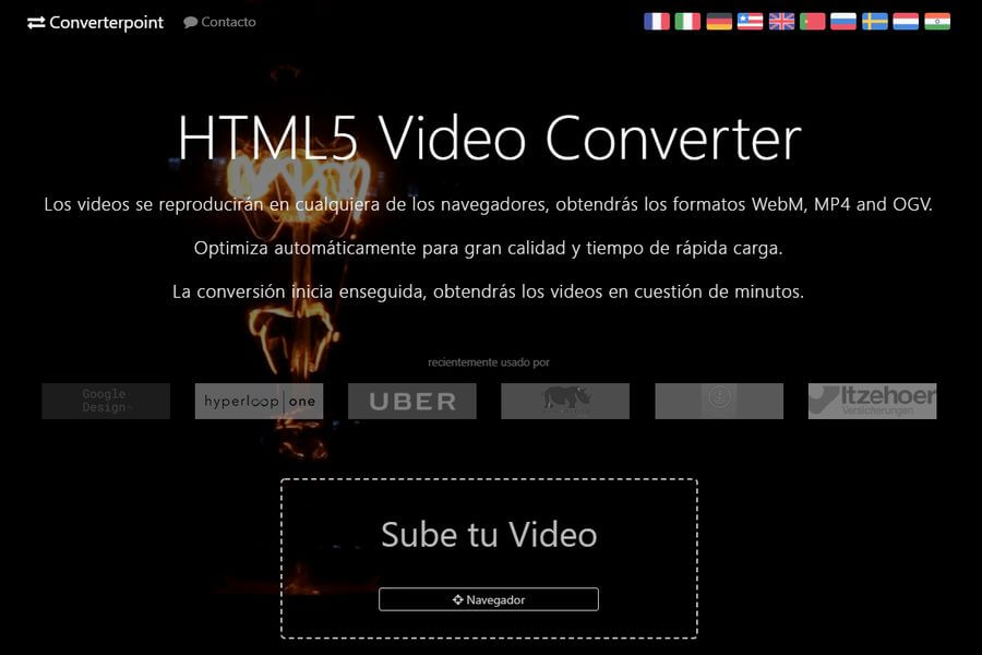 Convertir vídeos para HTML5 online y gratis con HTML5 Video Converter
