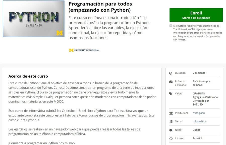 Curso de iniciación a Python en español y gratuito para seguir online
