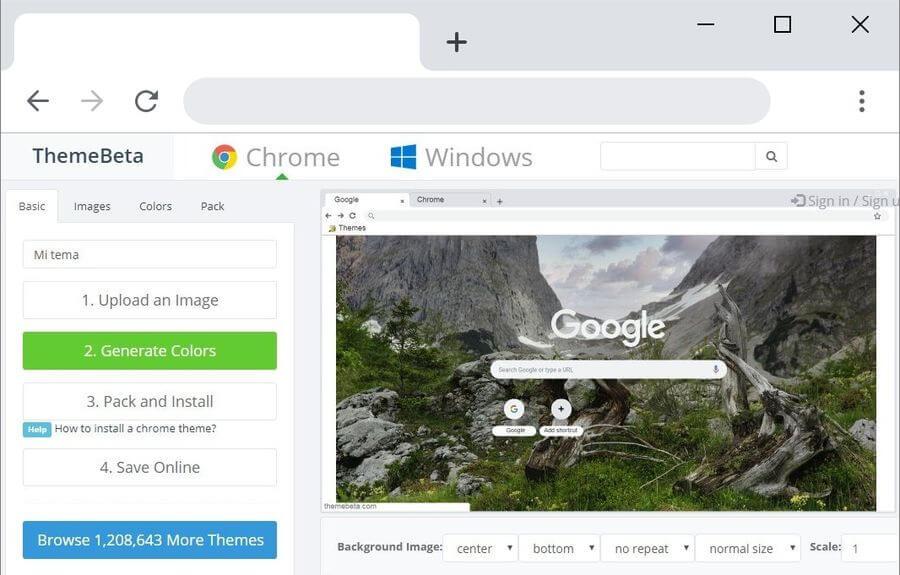 Cómo crear temas para Chrome gratis con Chrome Theme Creator