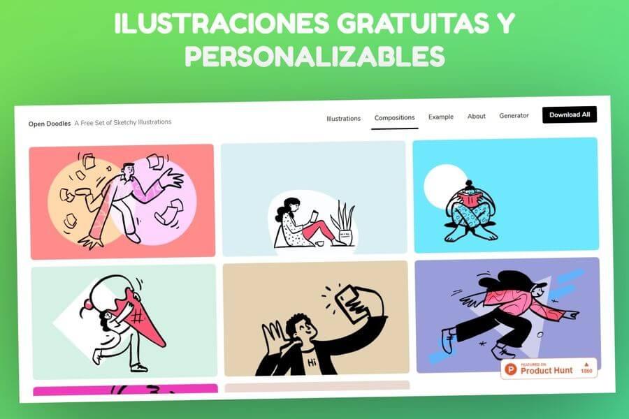 Open Doodles: ilustraciones gratuitas y personalizables para descargar