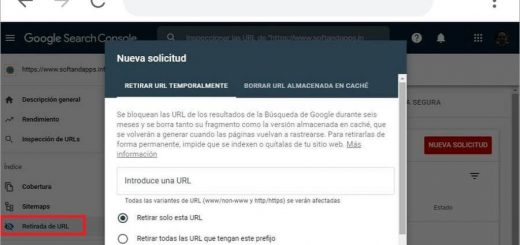 Retirada de URL disponible en Search Console