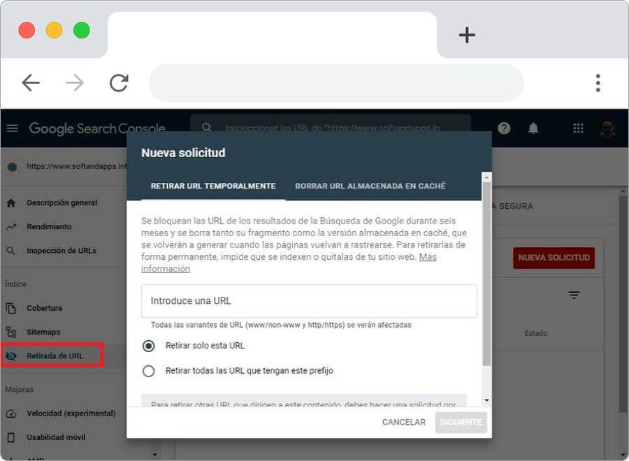 La Retirada de URL ya está disponible en Search Console