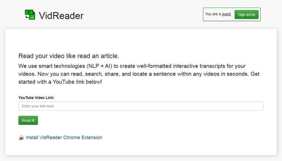 Transcribir vídeos de YouTube a texto automáticamente con VidReader